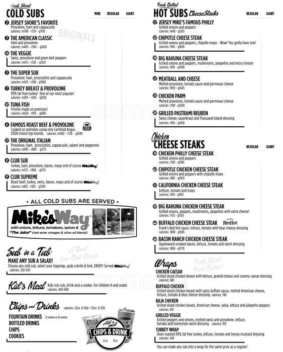 Jersey Mike's Subs Menu, Menu for Jersey Mike's Subs, Holladay ...