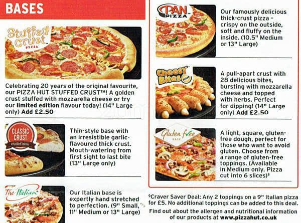 Pizza Hut Delivery Menu Menu For Pizza Hut Delivery Erith