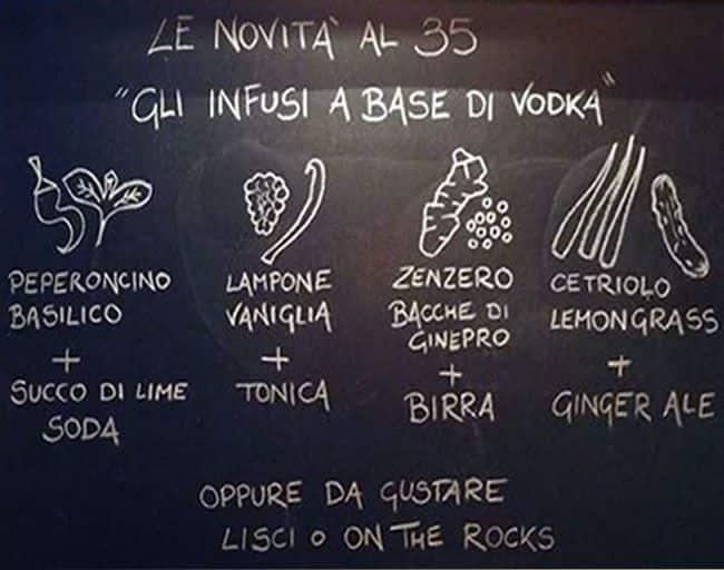 35 food drink a milano foto del menu con prezzi for Bar 35 food drinks milano