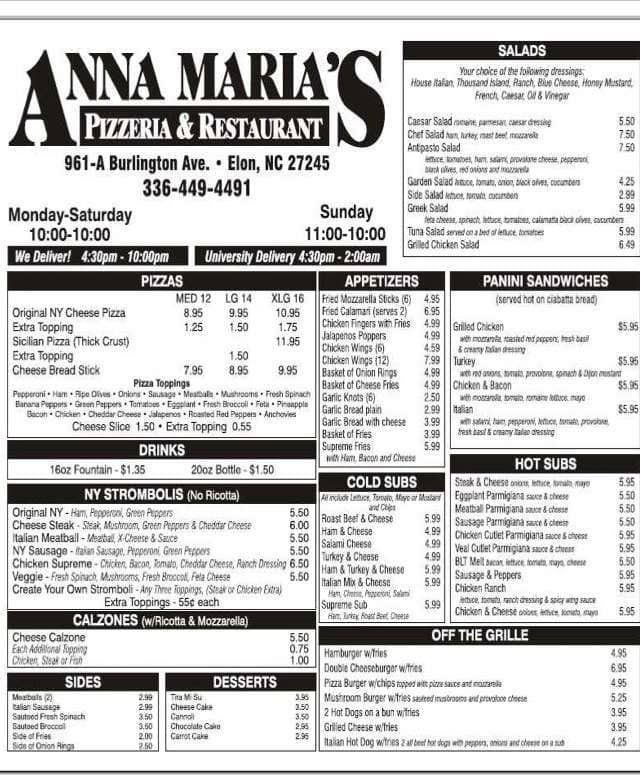 Anna Maria'S Pizza Menu