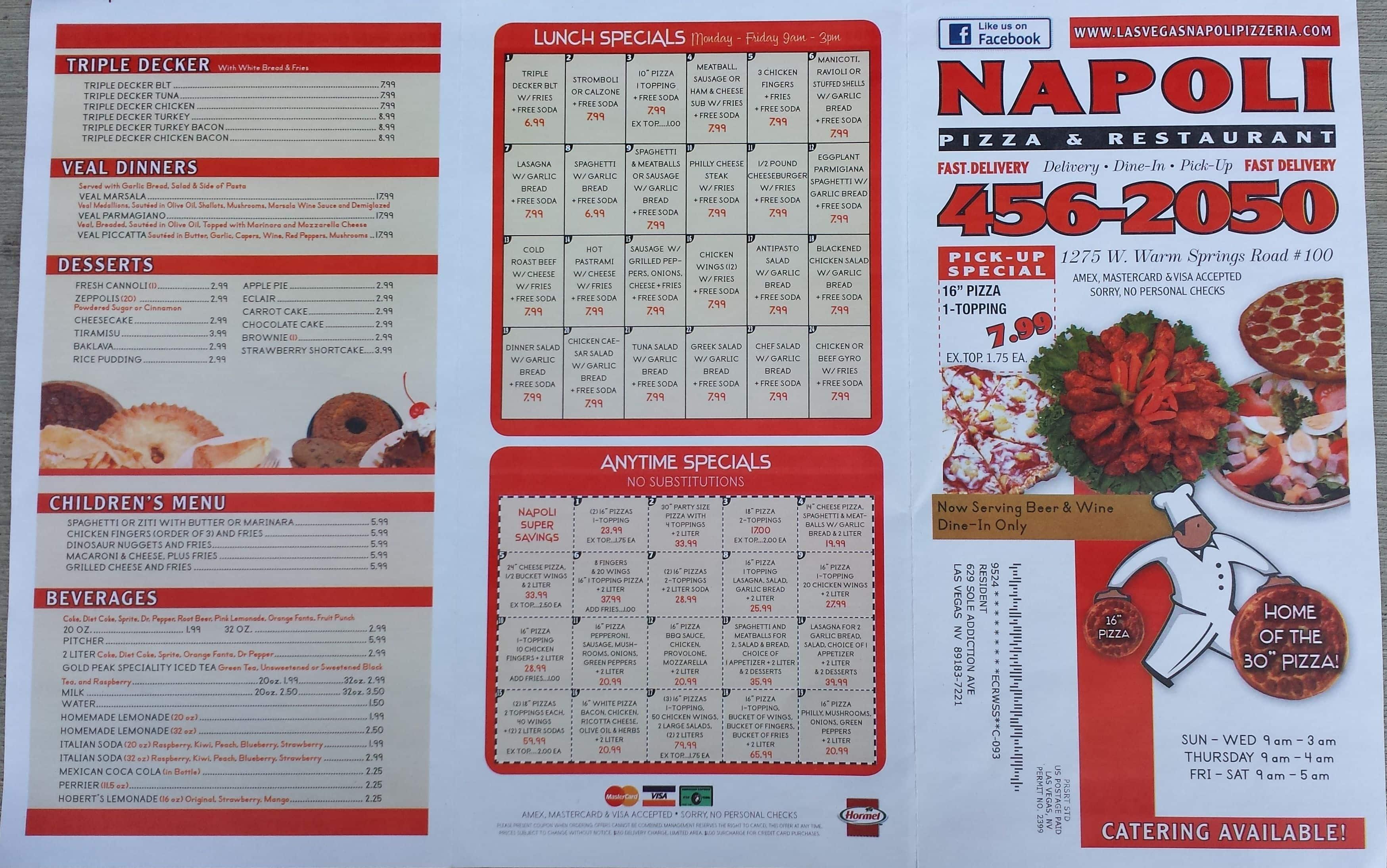 Napoli Pizza Restaurant Menu