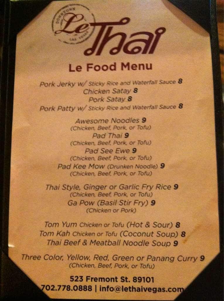 Le Thai Restaurant Las Vegas Menu