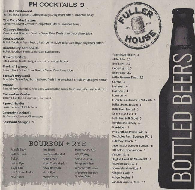 fuller house hinsdale menu