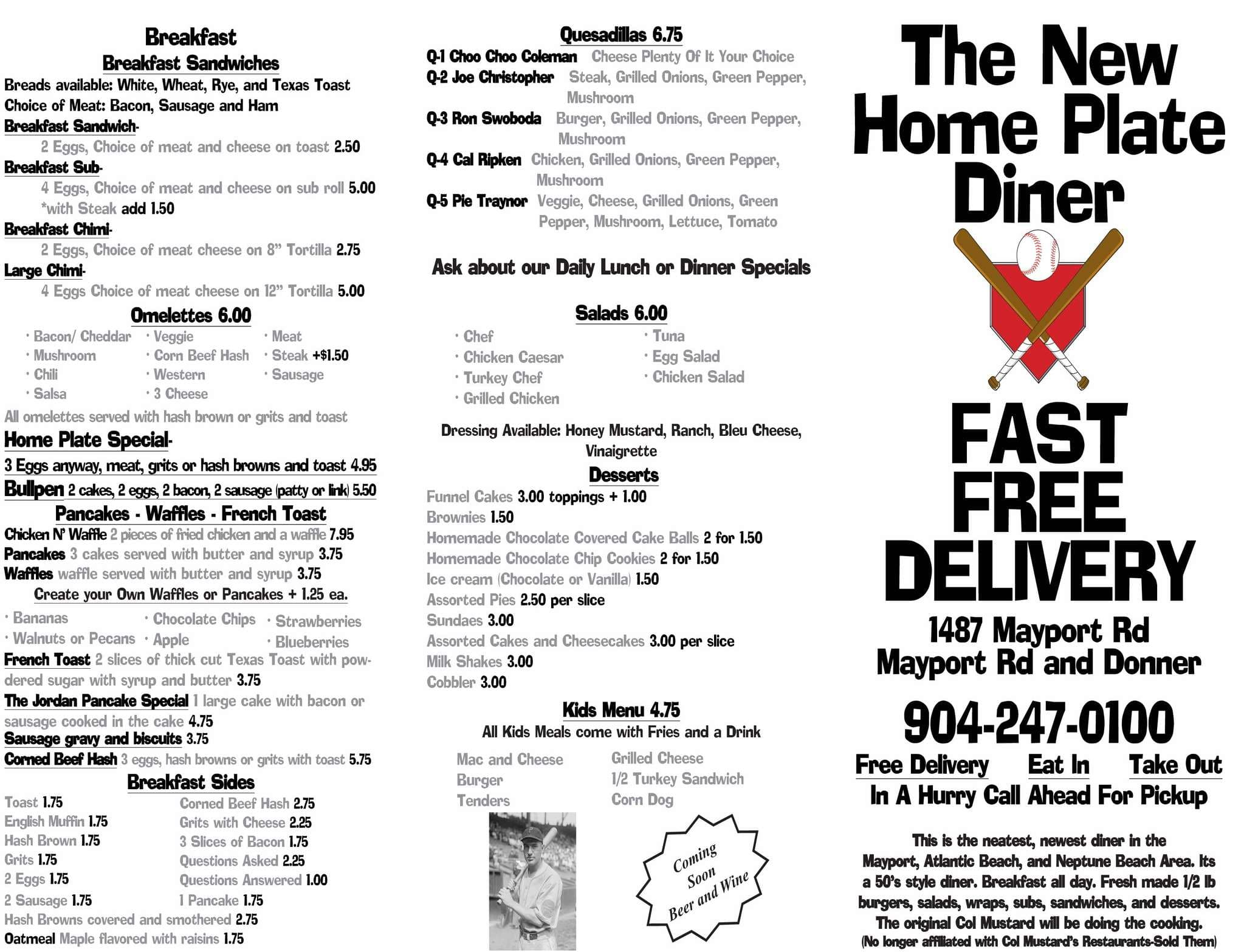 Scanned menu for The Home Plate Diner  sc 1 st  Zomato & The Home Plate Diner Atlantic Beach Jacksonville - Urbanspoon/Zomato