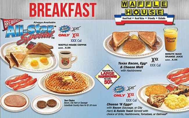 Waffle house menu menu for waffle house s broadway park for Waffle house classic jukebox favorites