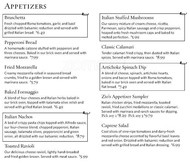 zios italian kitchen menu - Zios Italian Kitchen