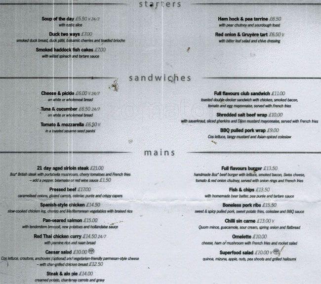Blackfriars Restaurant Menu