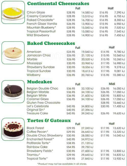 The Cake Takeaway Menu