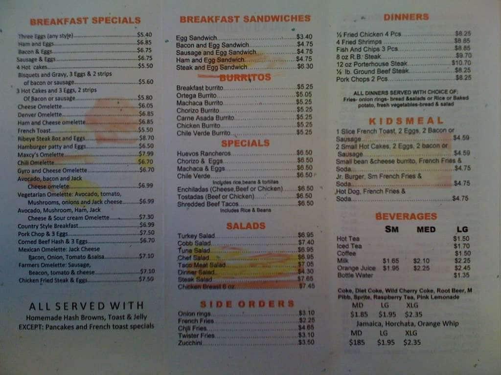 Maxcy\'s Grill Menu,Menú para Maxcy\'s Grill, Indio, Palm Springs ...
