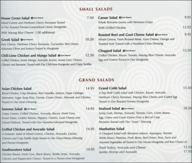 Menu At Grand Lux Cafe King Of Prussia