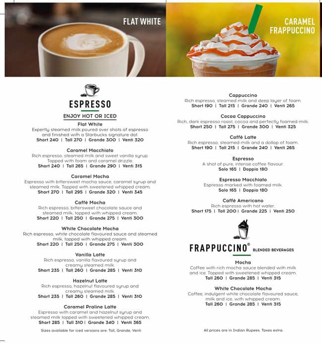 Starbucks Coffee Menu Menu For Starbucks Coffee Banjara