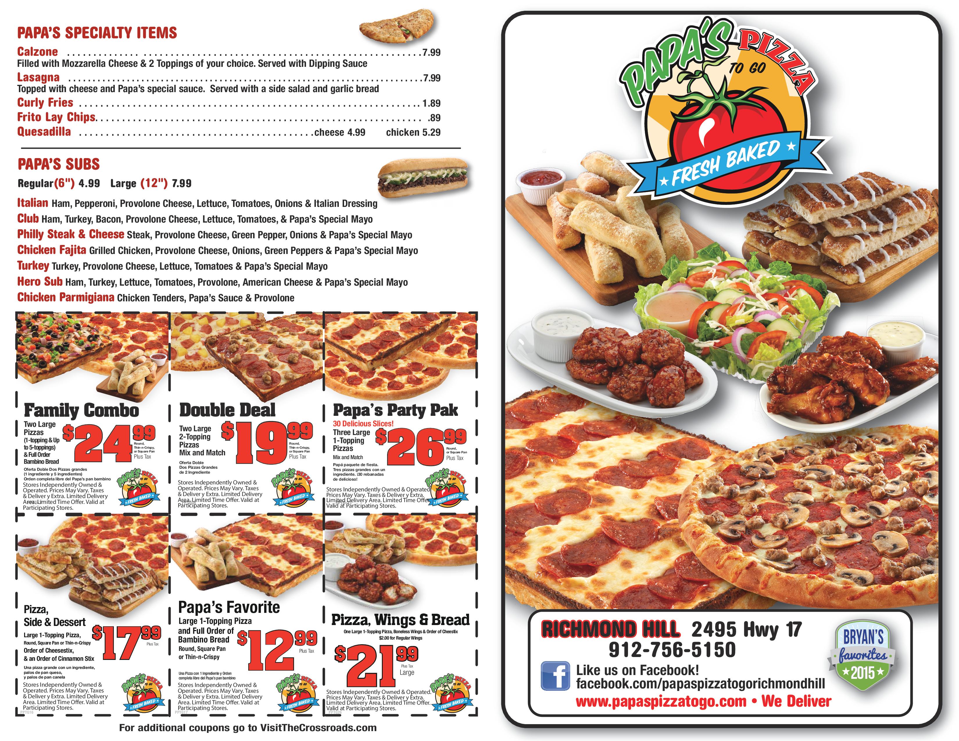 Popeyes Louisiana Kitchen Menu Papa's Pizza To Go Menu Menu For Papa's Pizza To Go Richmond
