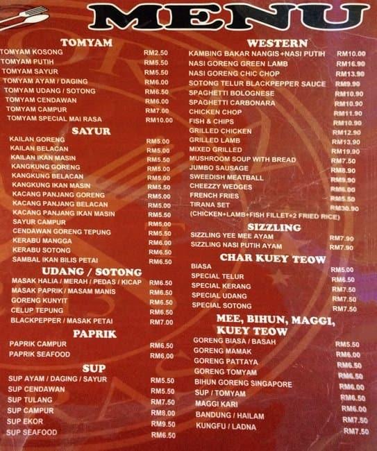 Mai Rasa Menu For Yen 7 Selangor