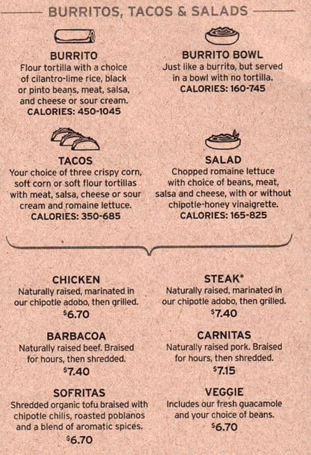 image about Printable Chipotle Menu referred to as Chipotle Mexican Grill Menu, Menu for Chipotle Mexican Grill