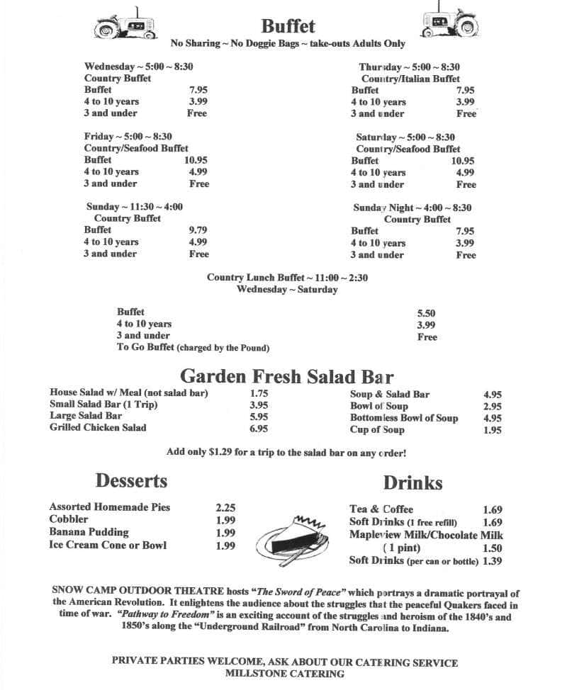 Ye Old Country Kitchen Snow Camp Menu