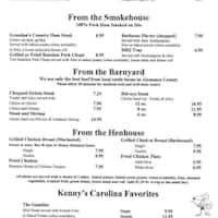 Scanned Menu For Ye Old Country Kitchen
