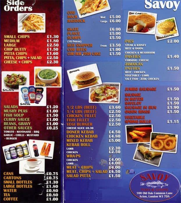 Savoy fish chips menu menu for savoy fish chips for Two fish menu