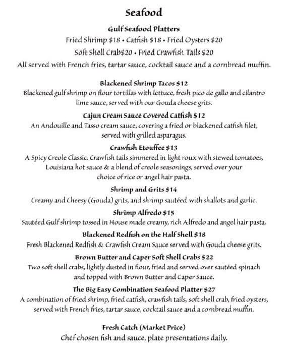 Menu at Patio 44 restaurant, Biloxi
