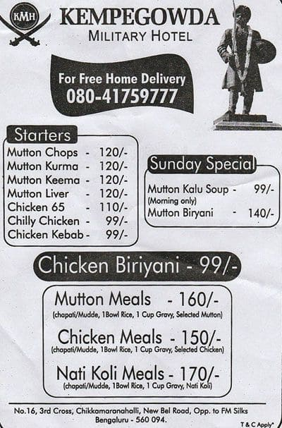 Kempegowda Military Hotel New Bel Road Menu