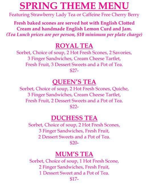 Teas Me Tea Room Menu Menu For Teas Me Tea Room