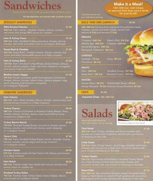 Honeybaked Ham Menu Menu For Honeybaked Ham Morton Grove Chicago