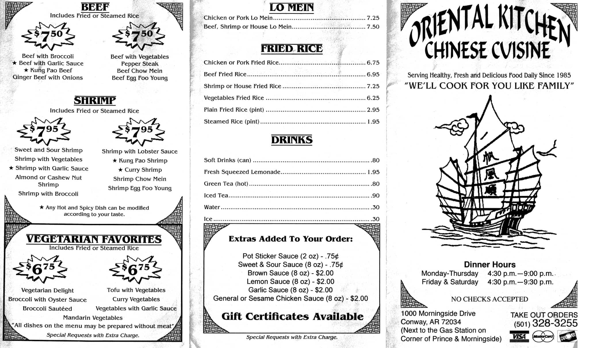 Menu At Oriental Kitchen Restaurant, Conway