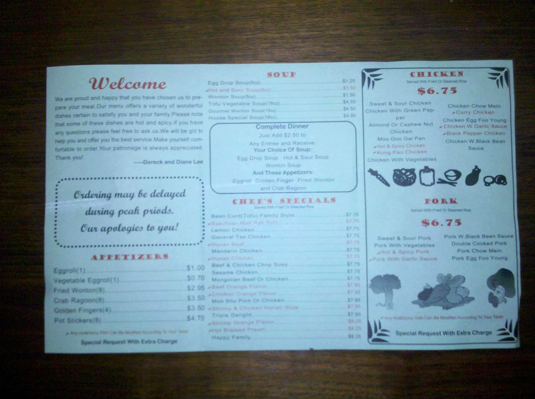 Menu at Oriental Kitchen restaurant, Conway