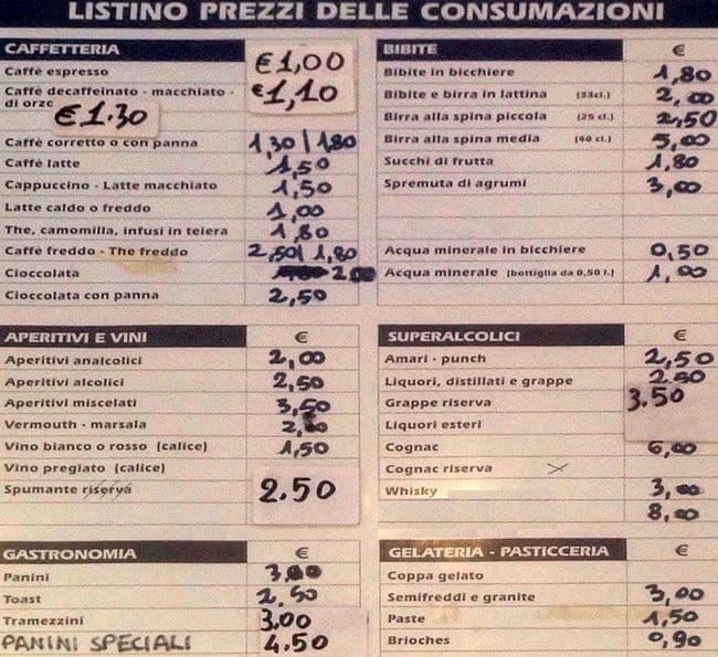 Bar tavola calda a milano foto del menu con prezzi - Impasto per tavola calda ...