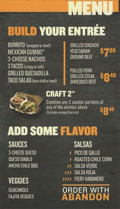 Qdoba Mexican Grill Menu Menu For Qdoba Mexican Grill