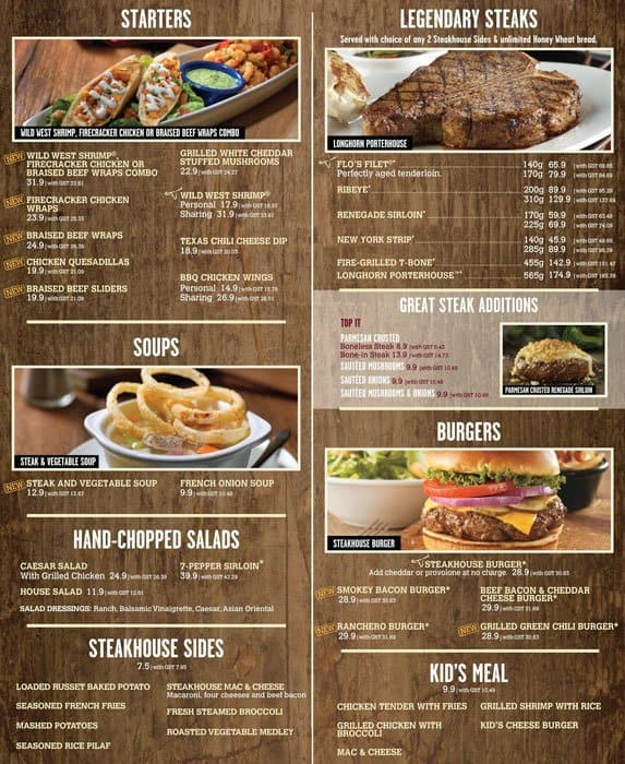 Longhorn Steakhouse Menu And Prices Restaurant Menu And   Lobster House