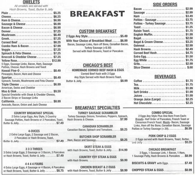 Yellow Rose Cafe Chicago Menu