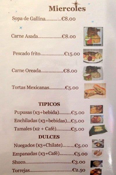 Tazumal Restaurant Menu