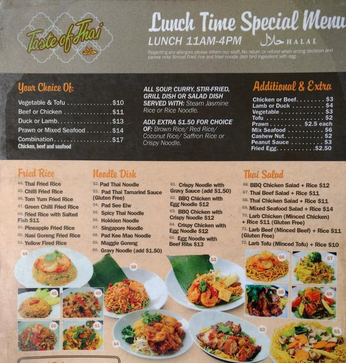 Menu at Taste of Thai restaurant, Randwick, 16 Belmore Rd