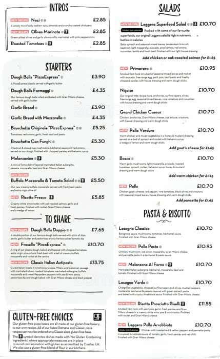 Pizza Express Menu Menu For Pizza Express Weybridge