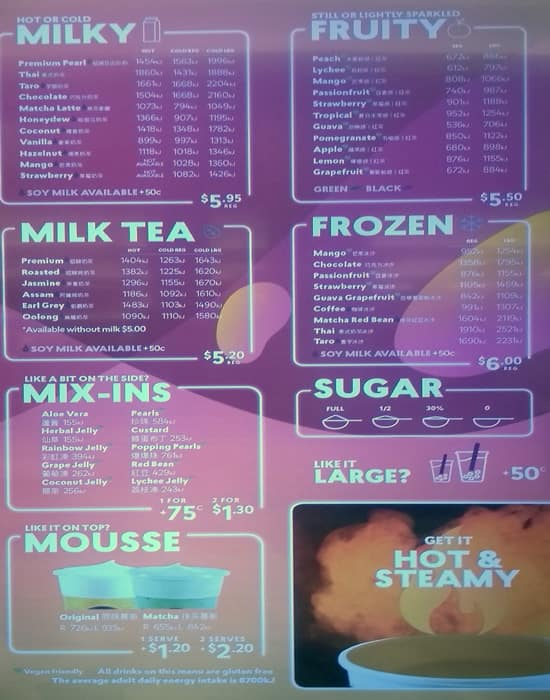 Menu at Chatime restaurant, Melbourne, QV Melbourne Shop
