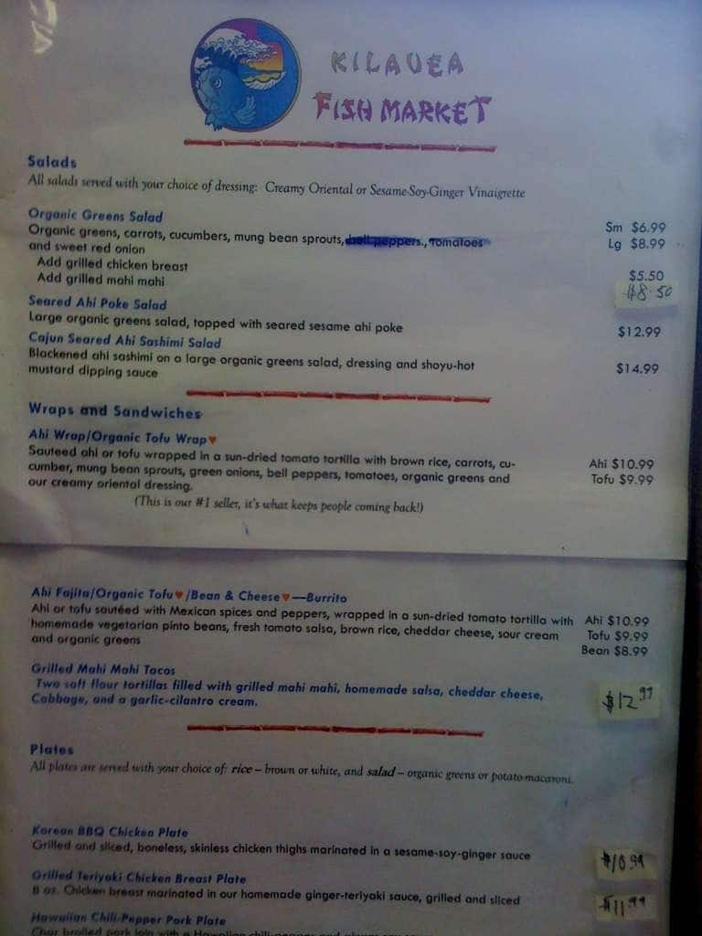 Kilauea fish market menu menu for kilauea fish market for Two fish menu
