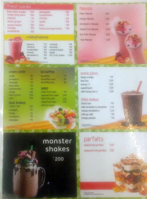 Squeez Juice Bars Menu, Menu for Squeez Juice Bars, Vadapalani
