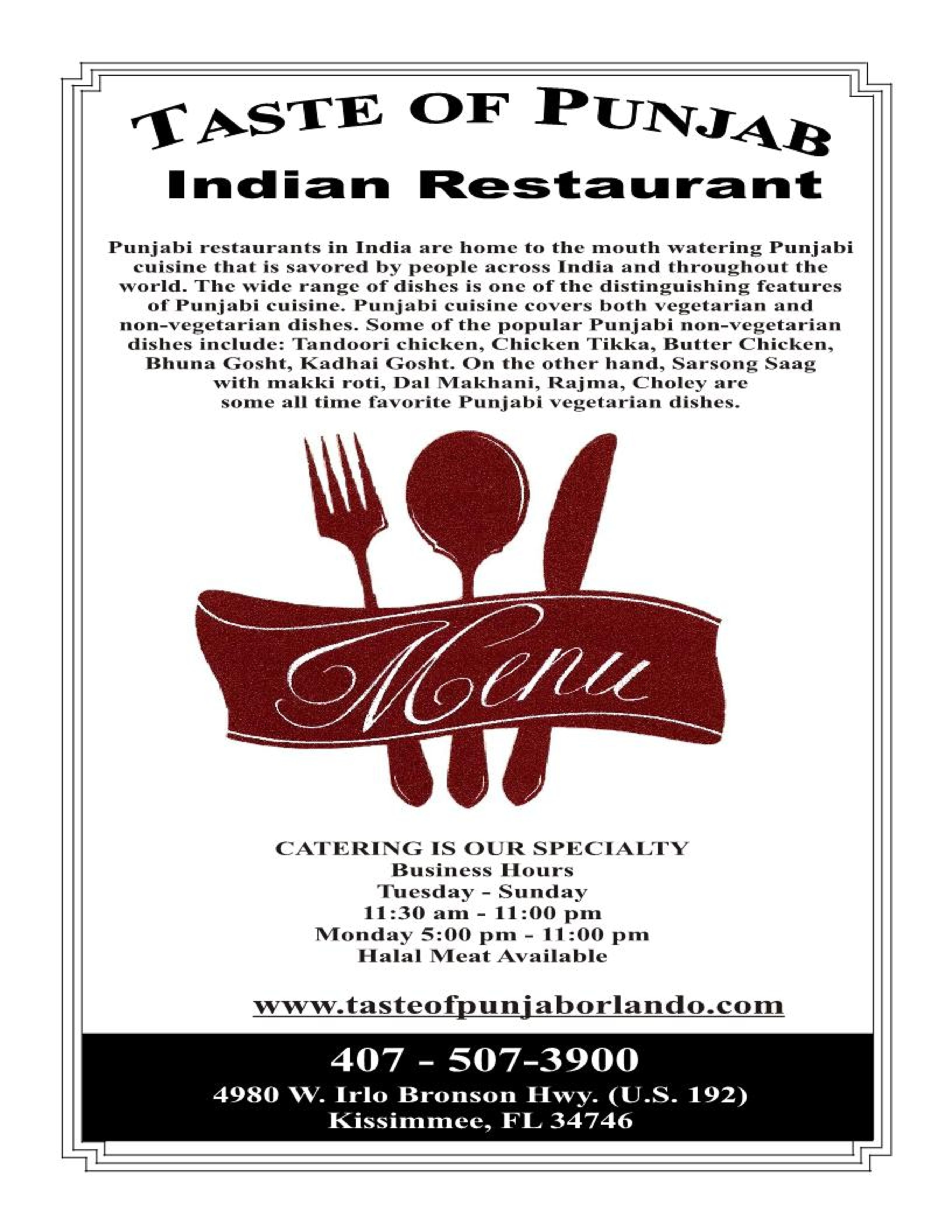 Punjab Indian Restaurant Kissimmee Menu