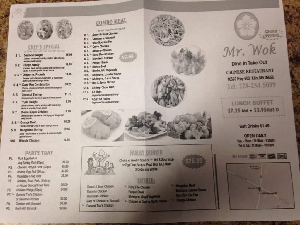 Mr B S Restaurant Menu