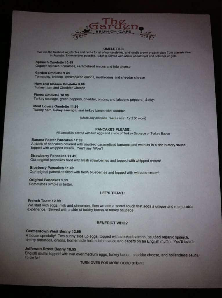 garden brunch cafe menu - Garden Brunch Cafe