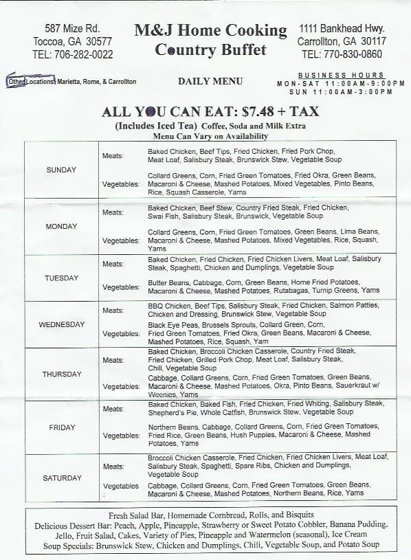 m j home cooking menu menu for m j home cooking carrollton rh zomato com happy home buffet menu home party buffet menu