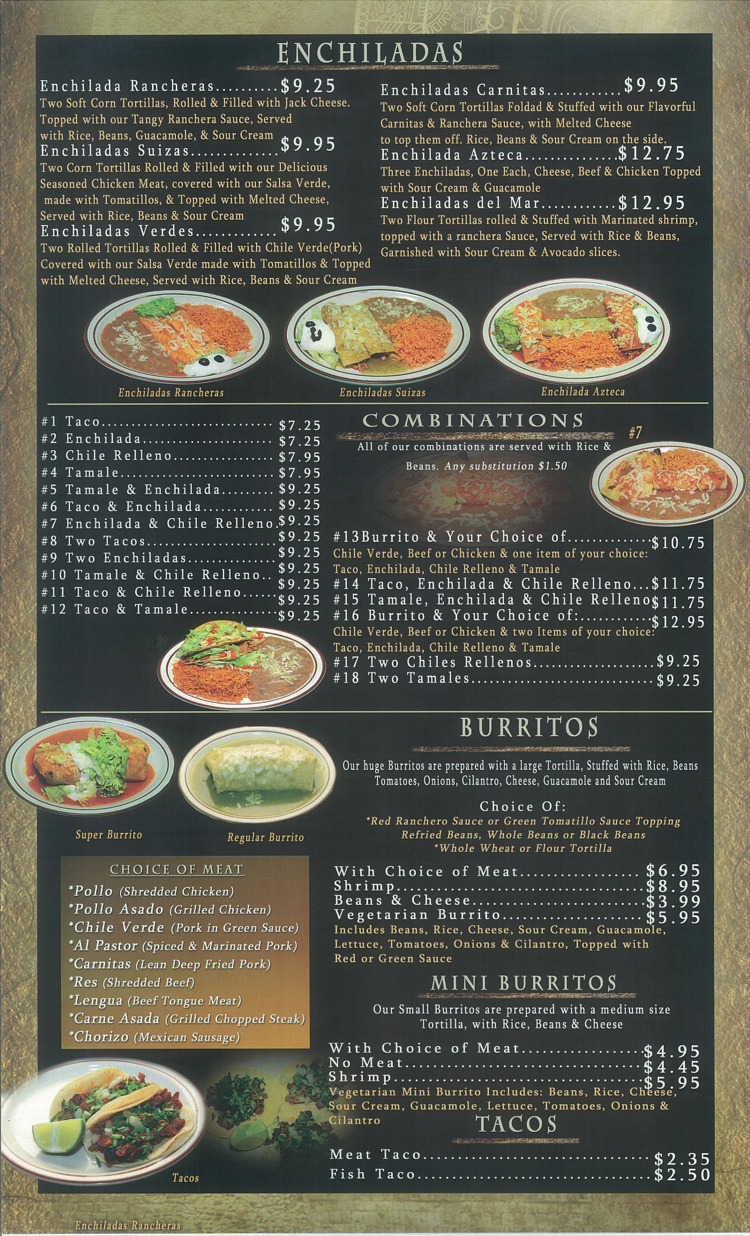 La Azteca Taqueria Menu, Menu for La Azteca Taqueria