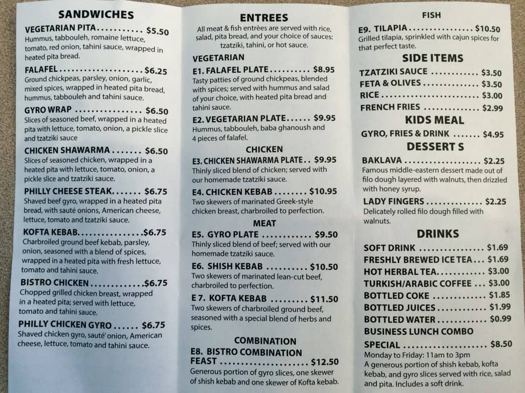 Mediterranean bistro menu menu for mediterranean bistro for Mediterranean menu