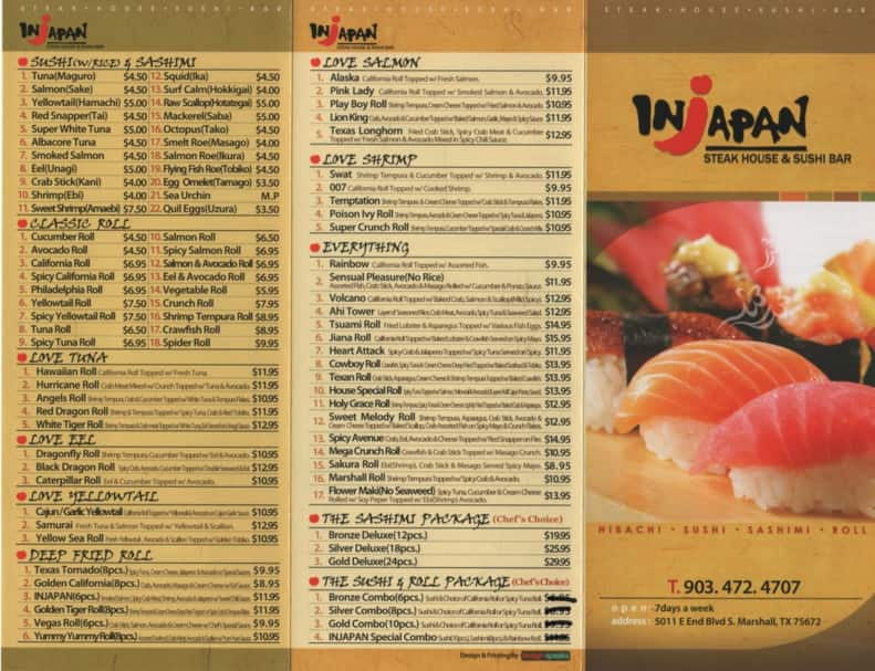 Japan menu gallery for Akina japanese cuisine menu