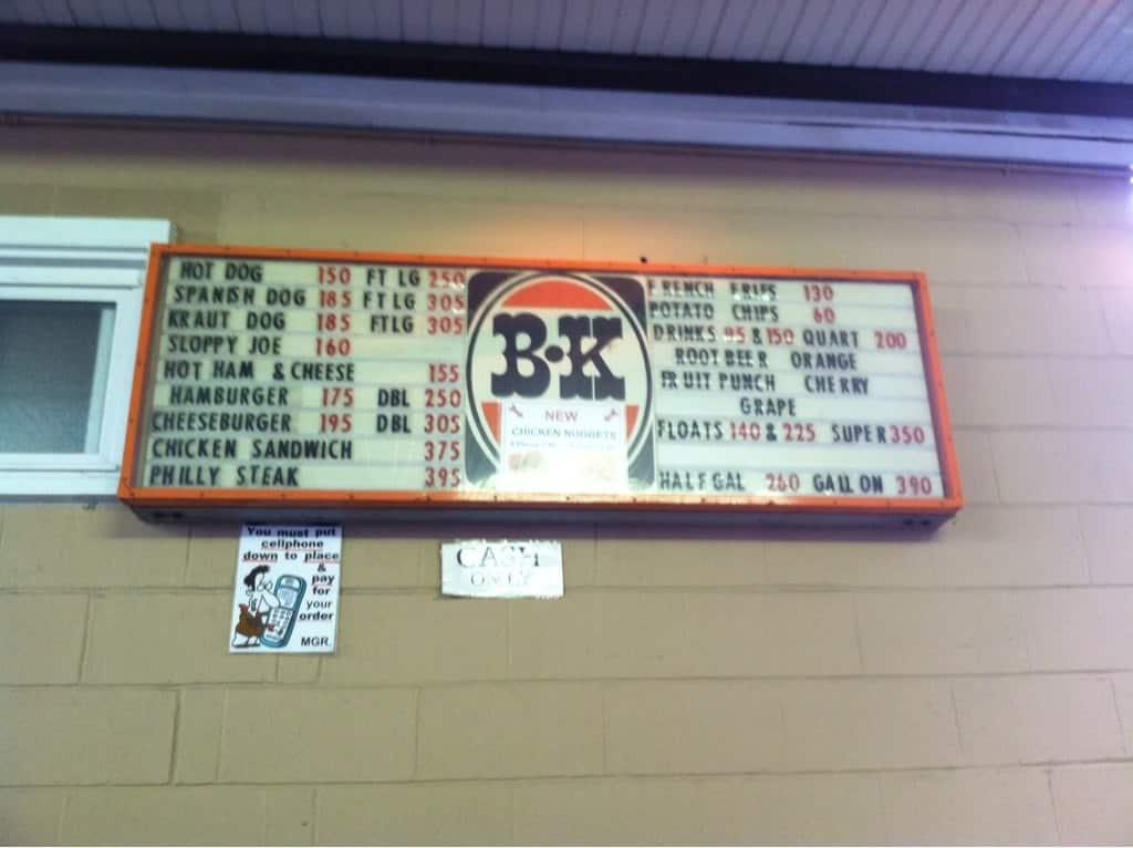 b k rootbeer menu menu for b k rootbeer akron cleveland
