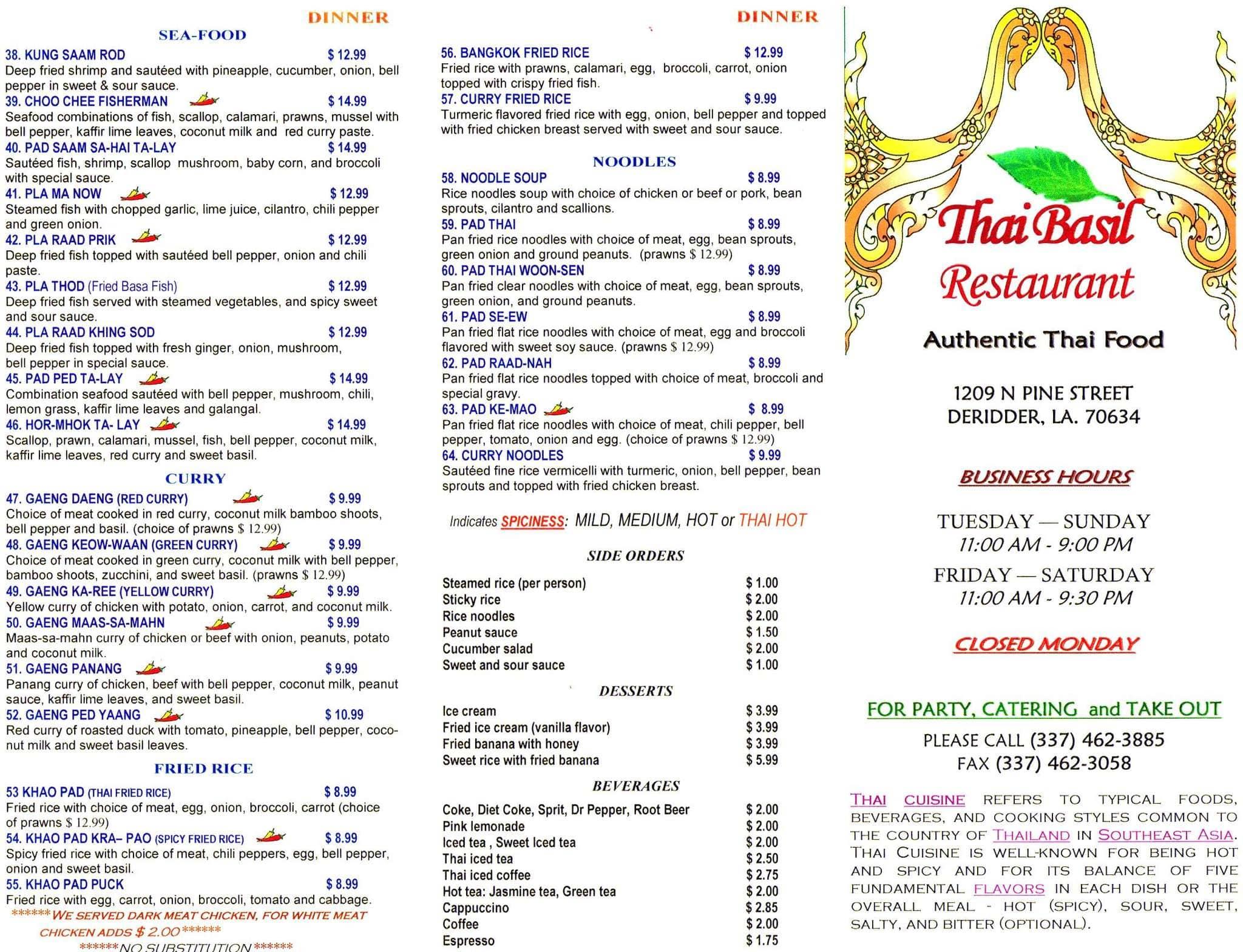 Thai Basil Restaurant Deridder Menu