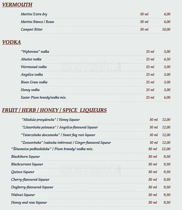 Chimera Menu Menu Restauracji Chimera Stare Miasto Krakow