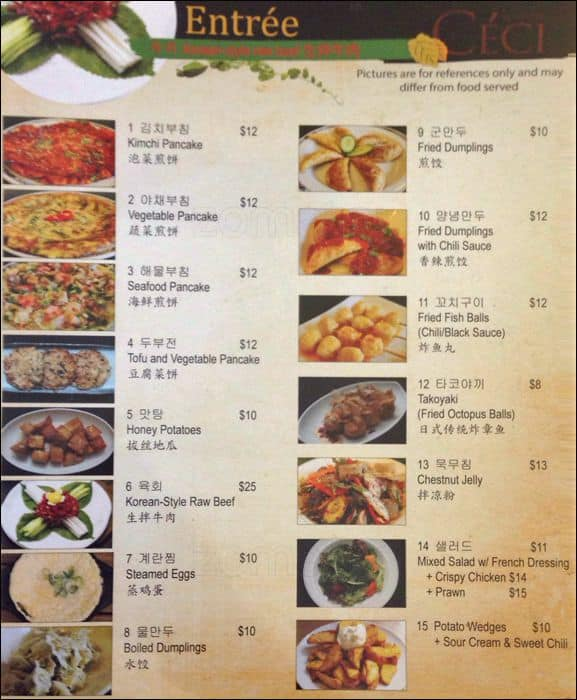 Ceci Korean Restaurant Menu Menu For Ceci Korean