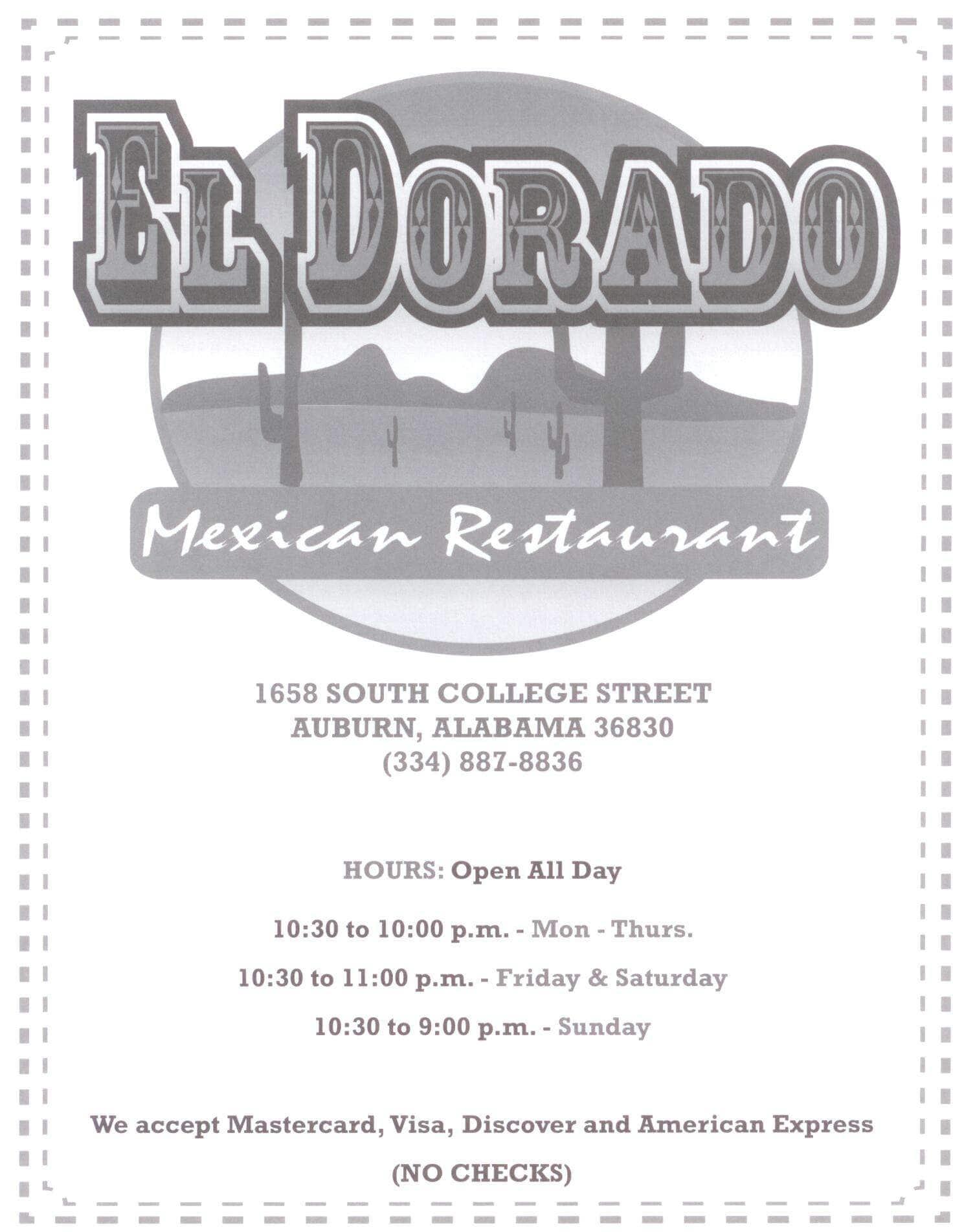 El Dorado Auburn Menu