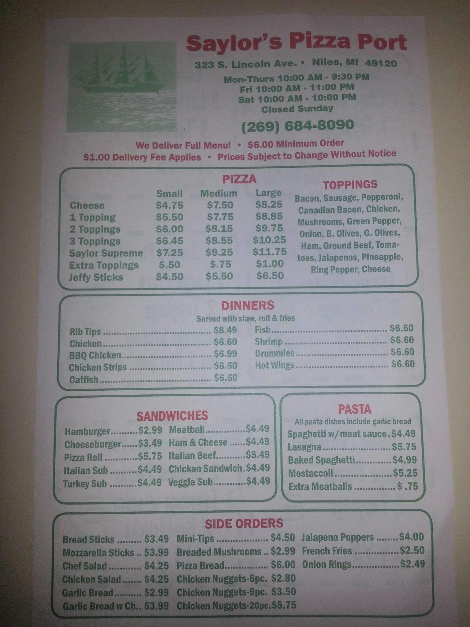 menu at saylor s pizza restaurant niles
